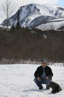 Howard Marsh and Lab on recent hike in the Chugach mountains